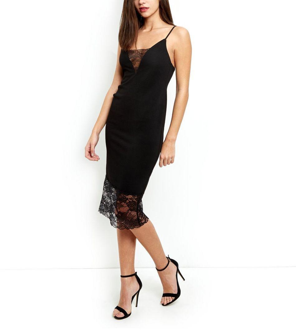 Black lace trim strappy bodycon midi dress lace trim black laces