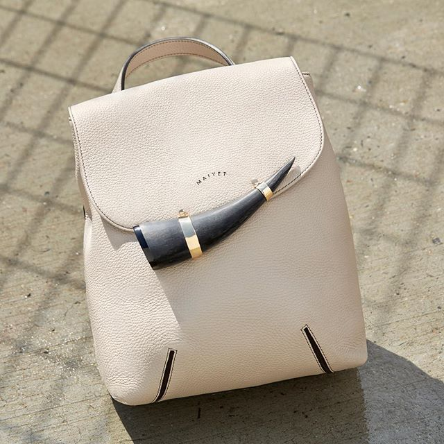 """""""The Lamu Daytripper Backpack inspires exploration through its unique style. A bold horn detail probes curiosity and the admiration of onlookers. It's mastered in size to be the best lightweight travel companion.  #maiyet #FW15 #fall2015 #fallstyle #backpack #lamu #accessories #leather #leatherbags #fashionbags #horn #gold #itbag #streetstyle"""" Photo taken by @maiyet on Instagram, pinned via the InstaPin iOS App! http://www.instapinapp.com (09/25/2015)"""