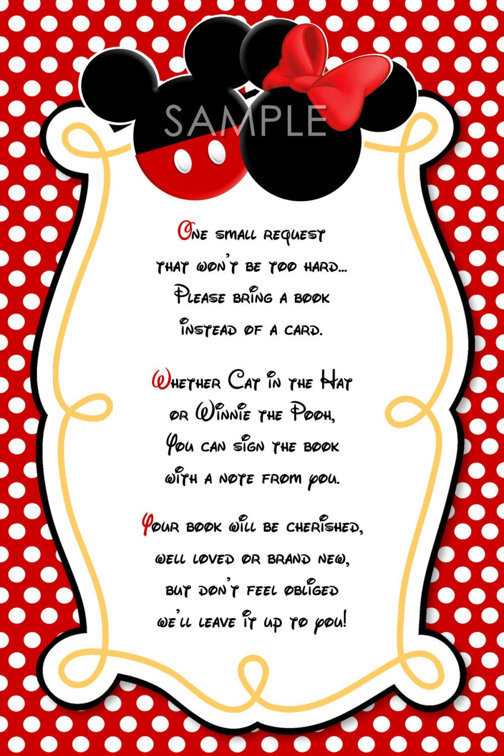 Please Bring a Book Instead Of A Card Mickey Mouse Invitation Insert ...