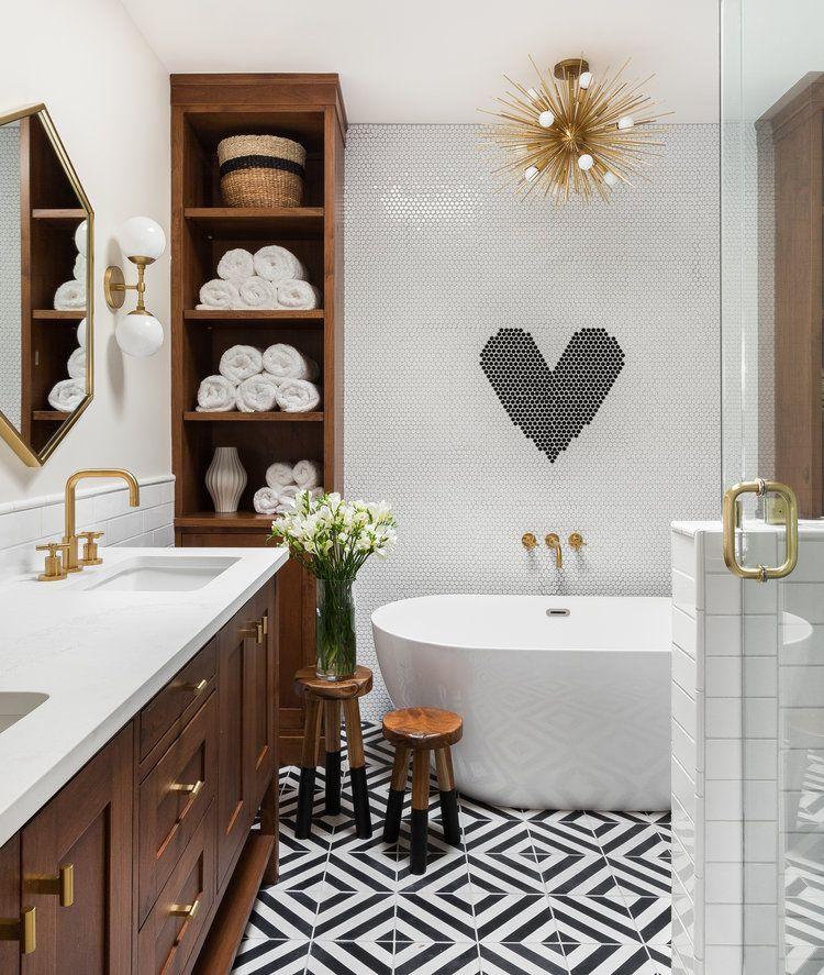 Modern Farmhouse Black And White Tile Floor Bathroom Gold