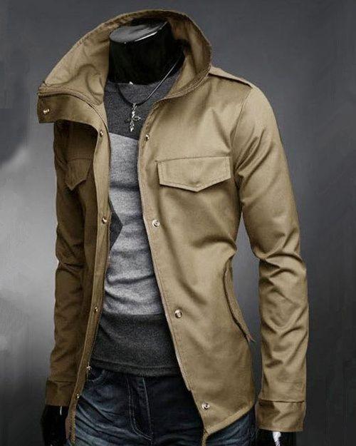 ffcef51e1de Mens Jacket Fashion Cotton Blends Solid Zipper Closure Stand Collar Long  Sleeve Slim Mens Jackets Discount Online Shopping