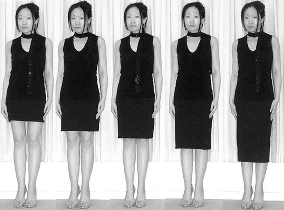 """...the longer lengths look more elegant, particularly the second image from the right, which ends at the Kibbe-prescribed 2 inches below the knee. The skirt ending 2 inches above the knee (second from the left) looks very awkward and 'off', somehow."""