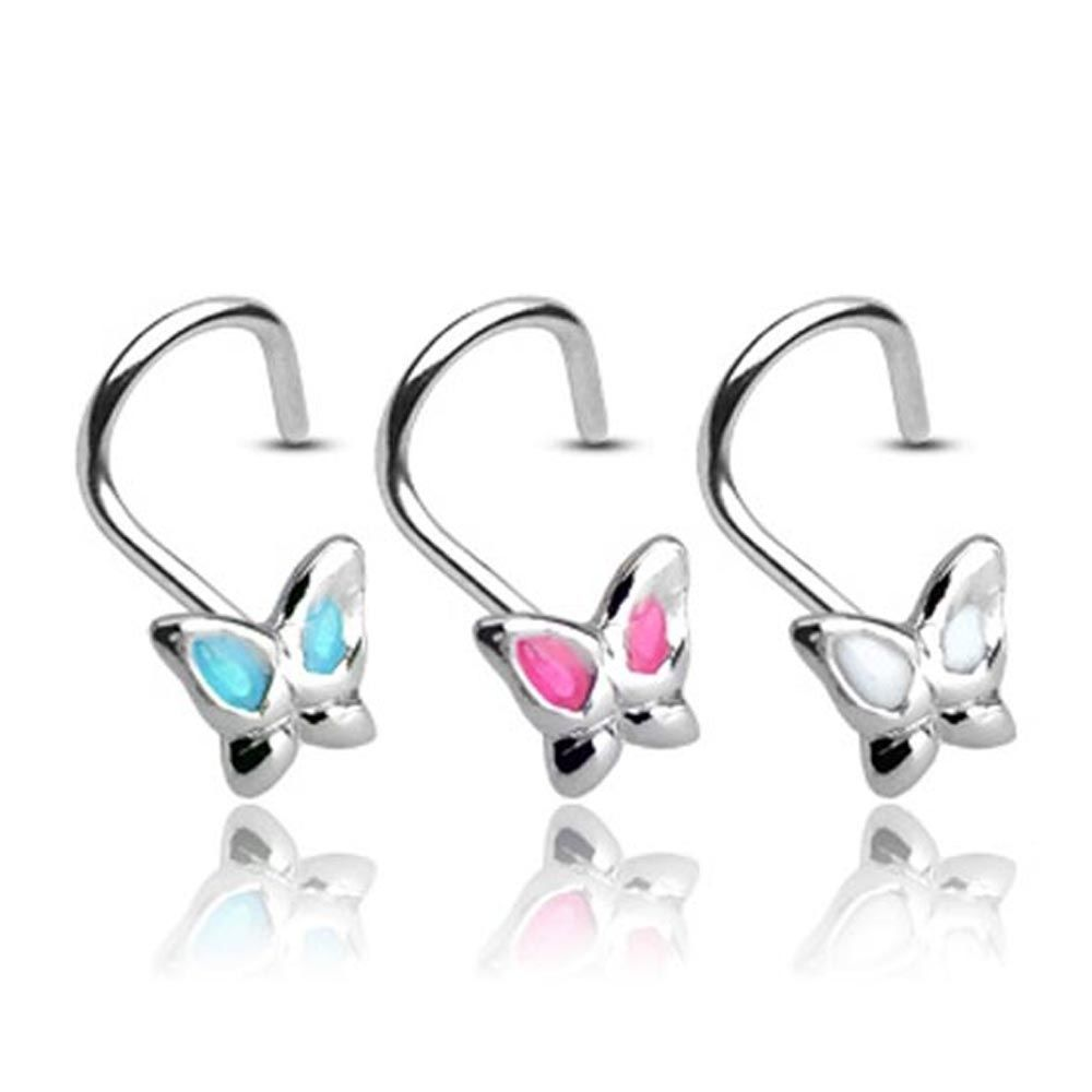 Messed up nose piercing   GA  Sterling Silver Nose Screw with mm Gemmed Butterfly