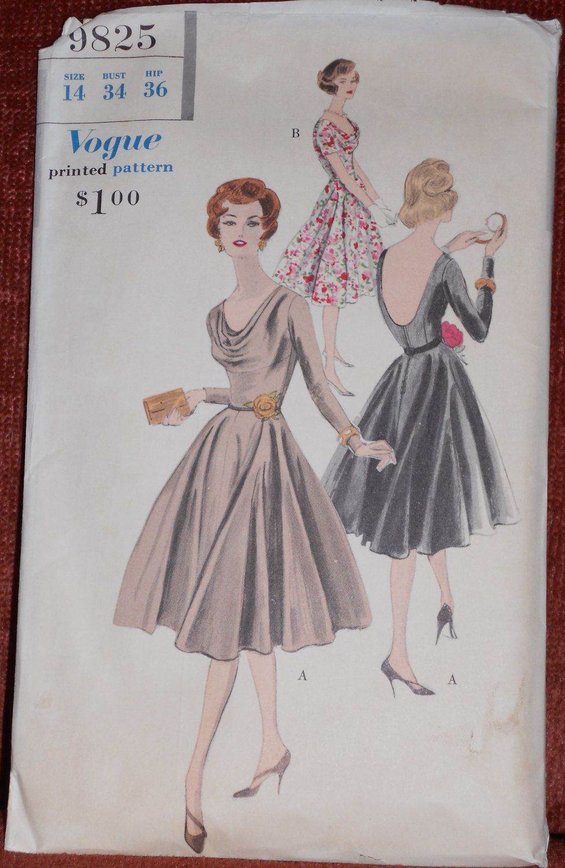 Vintage vogue 1950s cowl neck scoop back flared skirt for Cowl neck wedding dress pattern