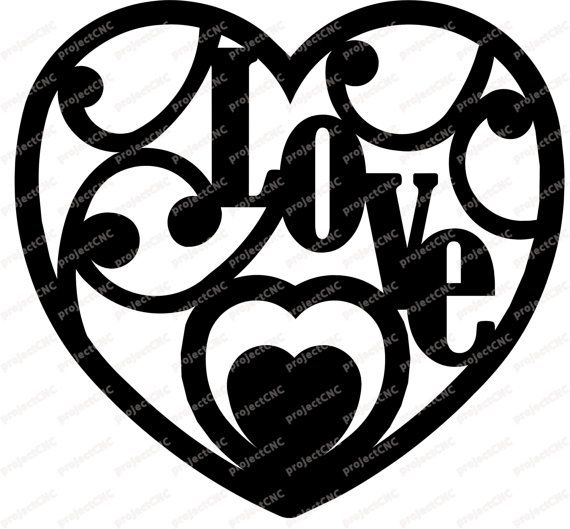 heart decoration love cnc cut file laser dxf cad drawing