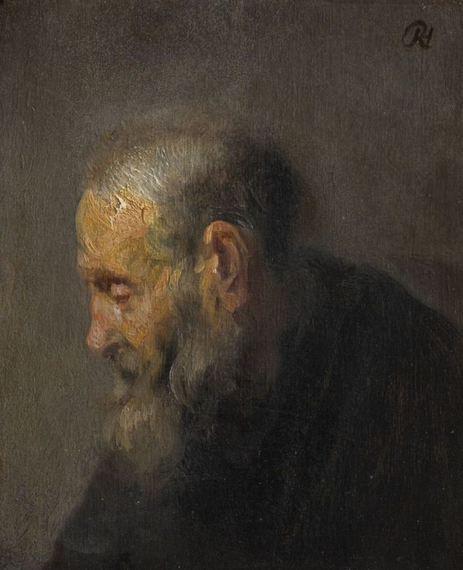 """Study of an Old Man in Profile, c. 1630  approximately 20 x 25 cm or 8"""" x 10"""", oil on canvas  Rembrandt van Rijn (1606-69)"""