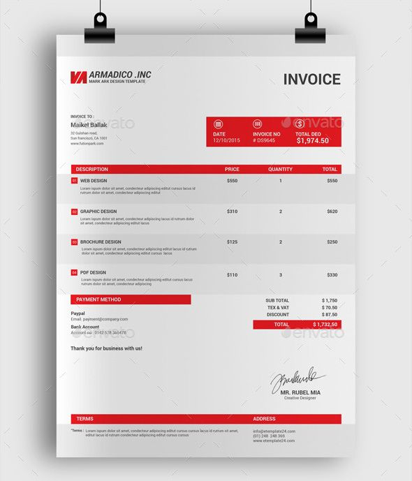 professional-invoice-design-templatejpg (590×689) Design - professional invoices