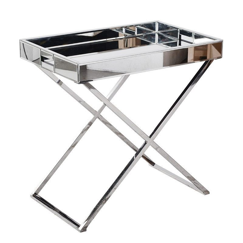 Mirrored Chrome Tray Table