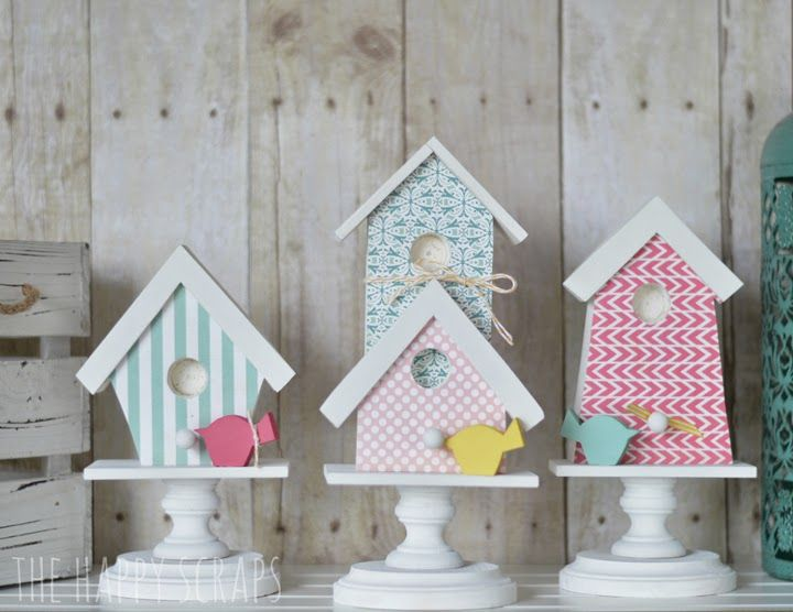 Spring Birdhouses and Letter Set | The Wood Connection Blog | The Happy Scraps