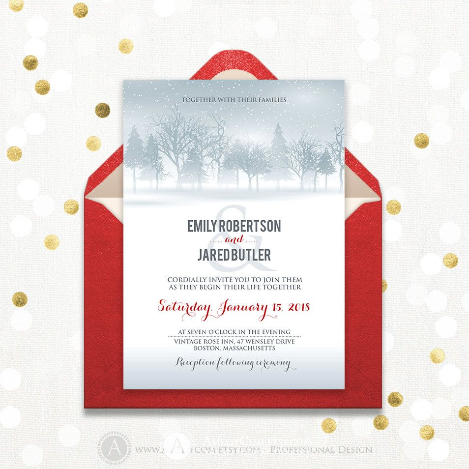 Winter Forest Wedding Invitation Printable Grey Pine Trees & White ...