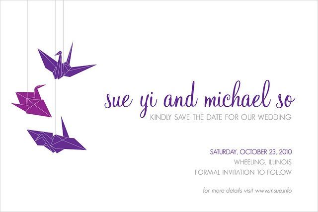 Paper cranes save the date postcards