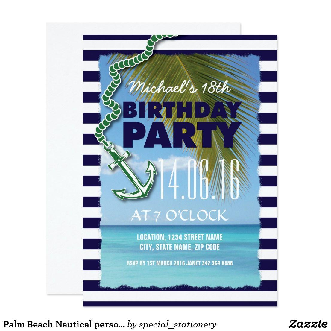 Palm Beach Nautical Personalized Birthday Card Palm Beach
