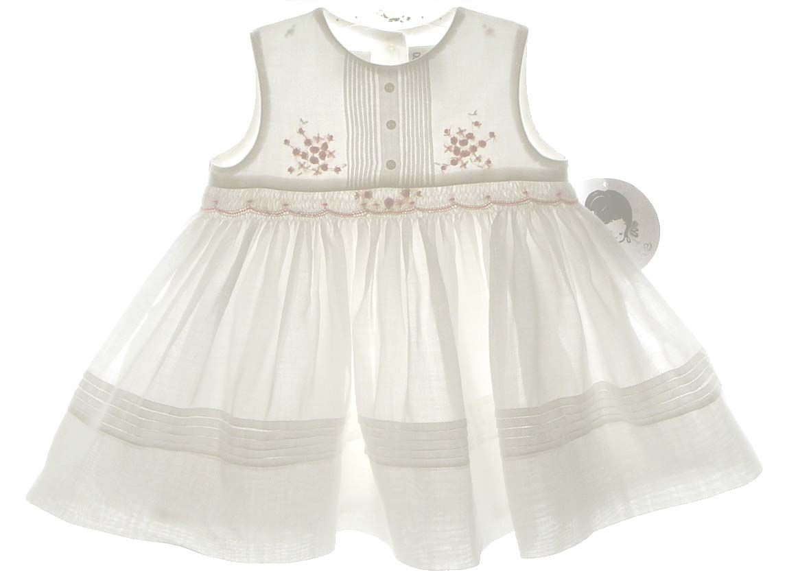 dbaf77545 NEW Sarah Louise Ivory Smocked Sleeveless Dress with Pintucks and Peach  Rosebuds $65.00