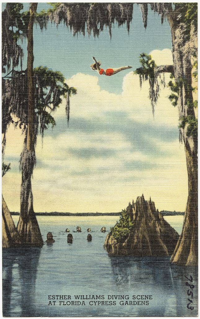 Esther Williams diving scene at Florida Cypress Gardens in