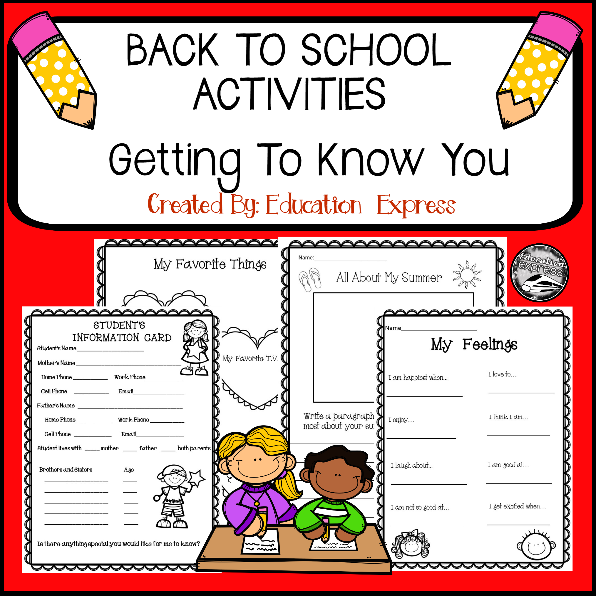 Getting To Know You Back To School Activites