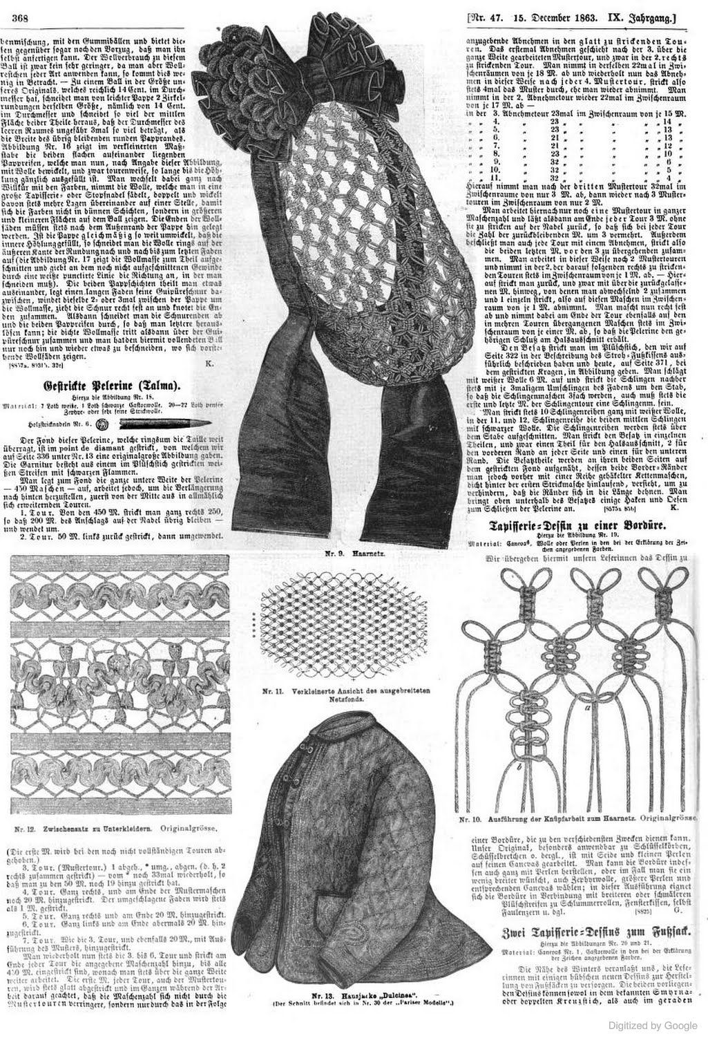 1863 Der Bazar Top Hair Net With Ribbon And Chenille Trim Instructions For Knotting At Right Victorian Hats Historical Hairstyles Hair Nets