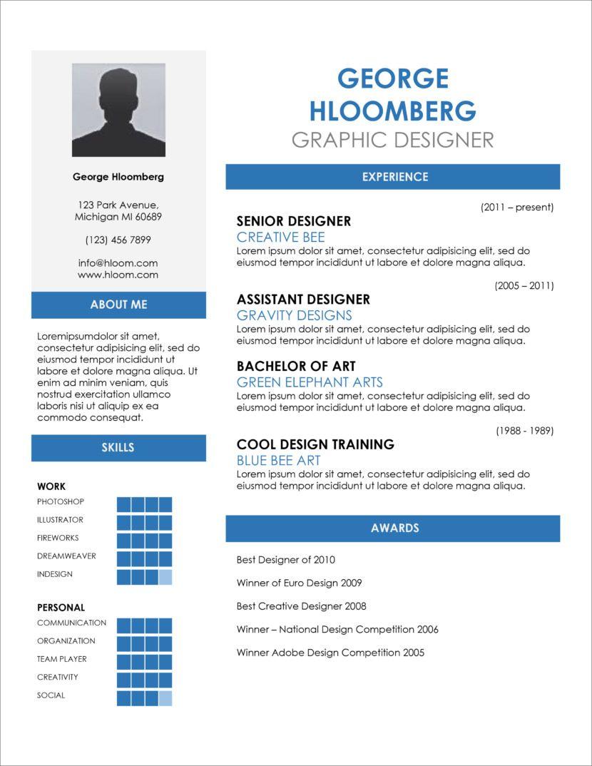 45 Free Modern Resume / CV Templates Minimalist, Simple