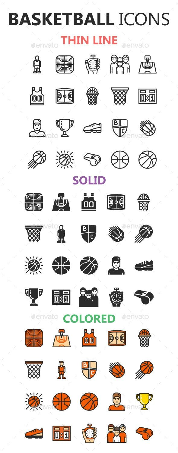 Basketball Icons in 3 Styles Affiliate Basketball, Aff