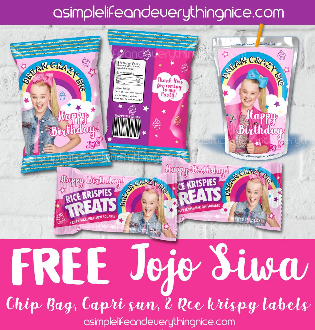 Jojo Siwa fruit snack wrappers-digital-print-Jojo Siwa party favors-Jojo Siwa birthday party-Jojo Siwa party supplies-Jojo Siwa party decor