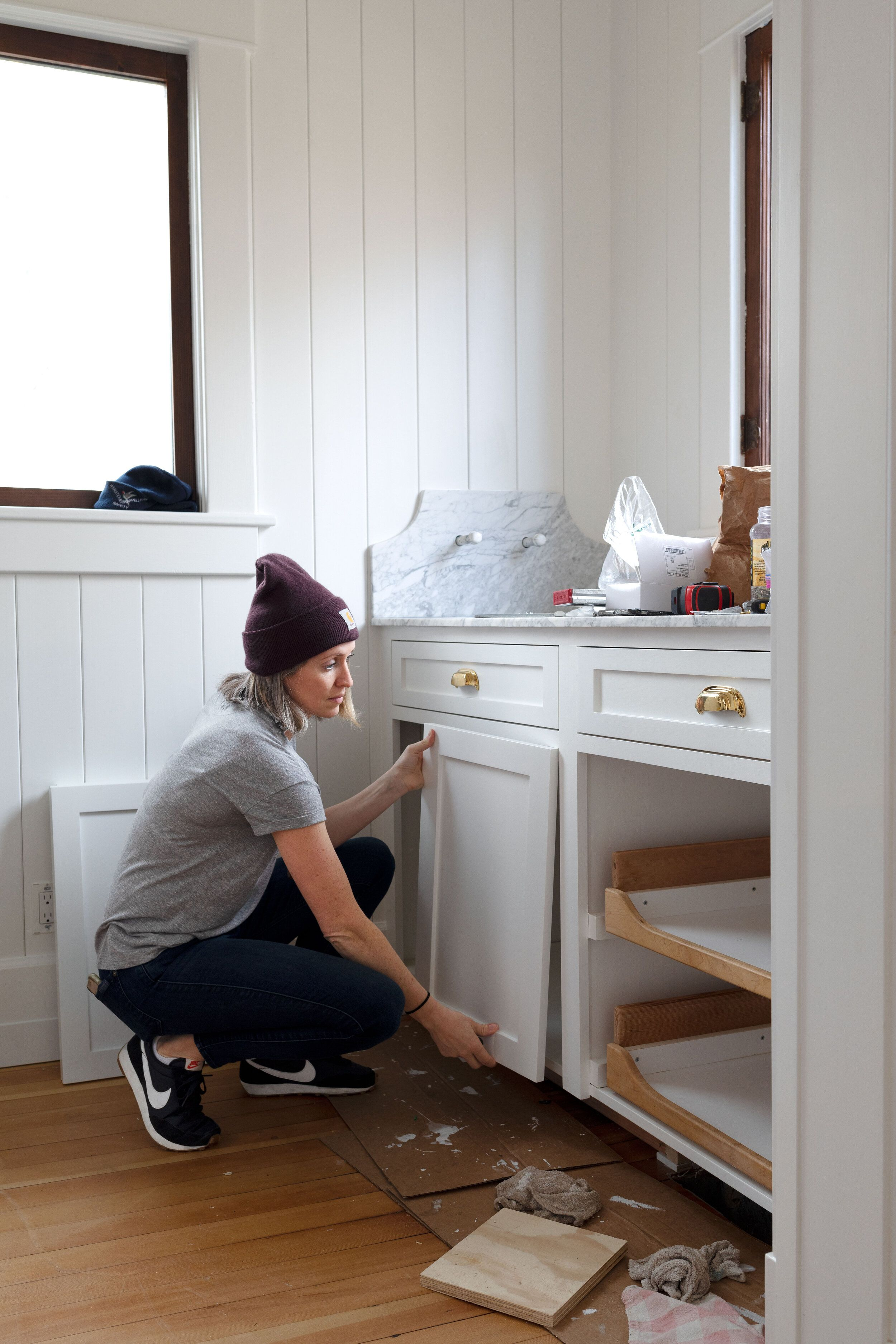 Diy How To Paint Cabinets By Hand An Update On Our Farmhouse Pantry In 2020 Painting Cabinets Custom Cabinet Doors Farmhouse Pantry