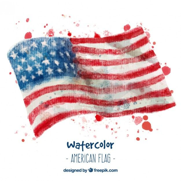 Watercolor american flags Free Vector Try Painting a Picture