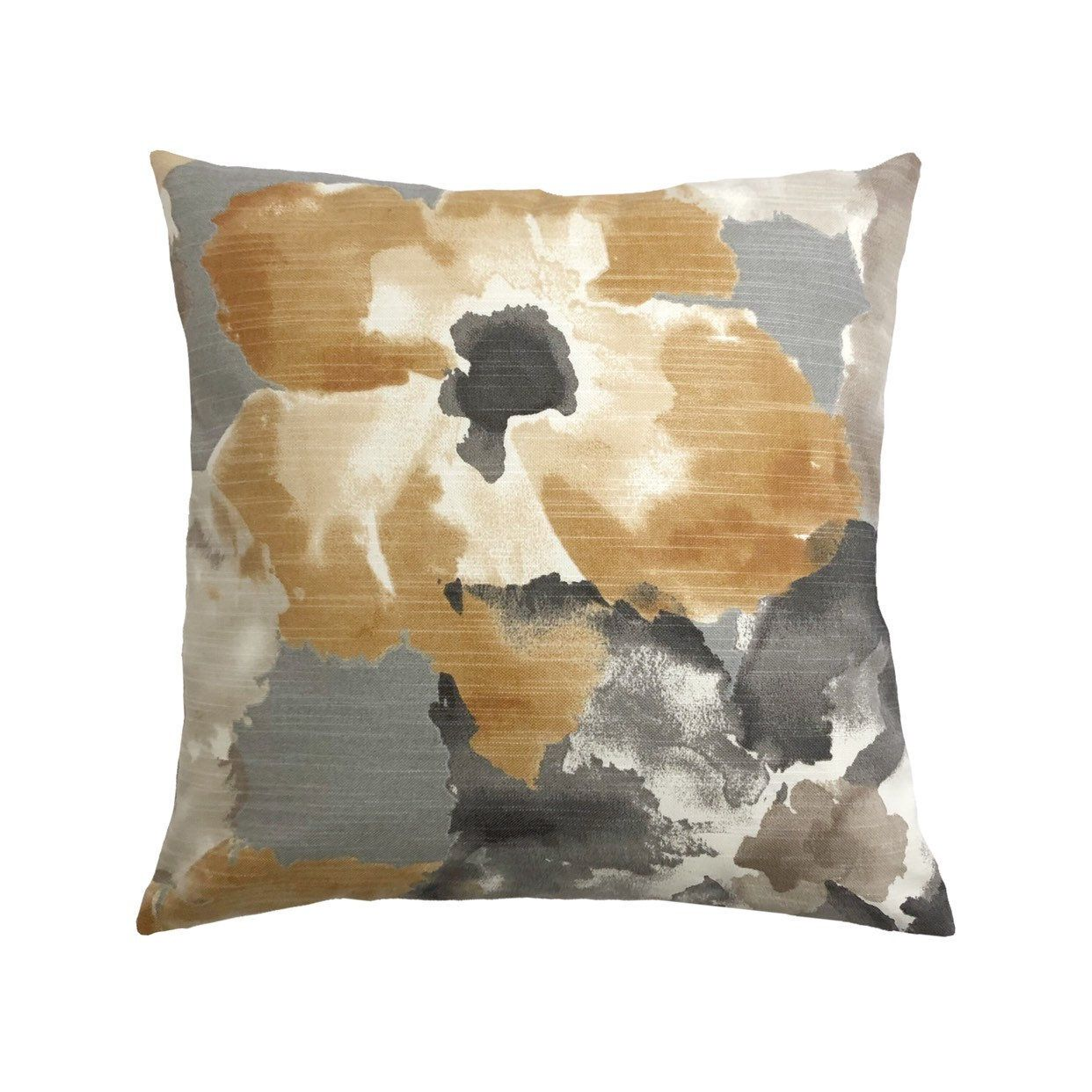 Floral Amber Throw Pillow Cover Grey Cream Golden Tan And Etsy Throw Pillows Throw Pillow Covers Taupe Accent Pillows