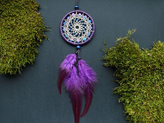 Blue purple dream catcher rear view mirror by DeiDreamCatchers
