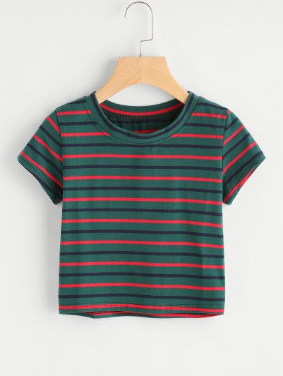 Contrast Striped Tee l  Casual Street Style Chic Fashion Outfits Summer  Women s  StreetStyle  CasualStyle 2de6a42d01577