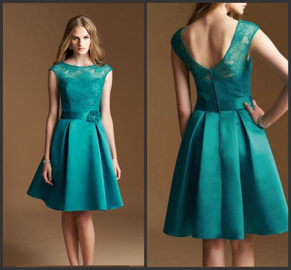Green Knee Length Satin A-line Lace Illusion Neckline Cap Sleeve ...