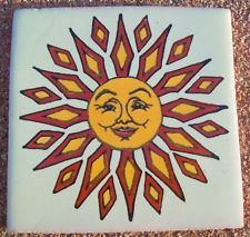 "Mexican Sun Art | 10~MEXICAN TALAVERA POTTERY 4"" tile Hand Painted Wall Folk Art SUN ..."