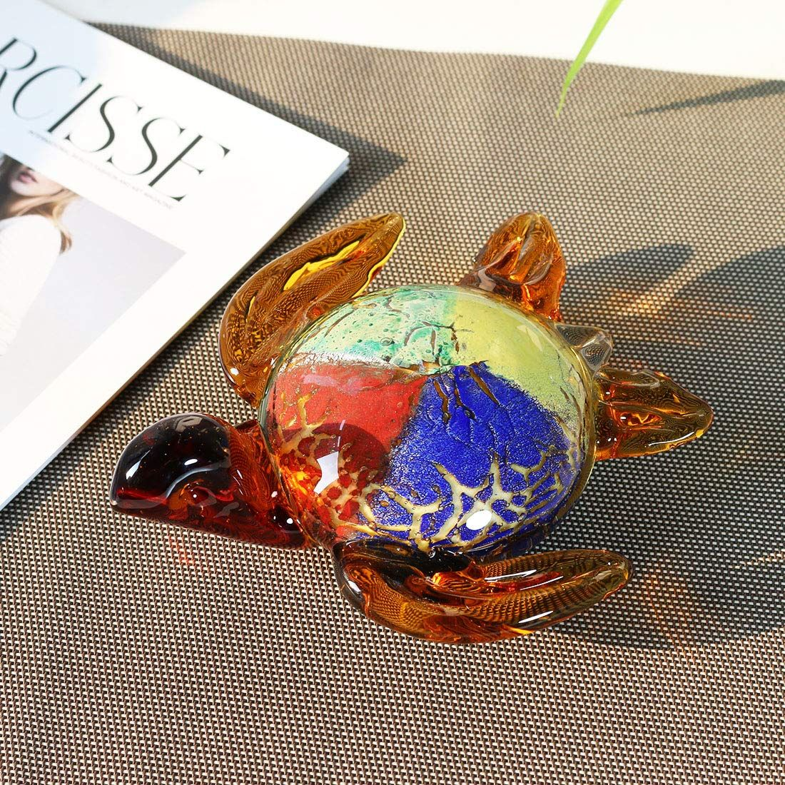 Hd colored handmade turtle glass blown paperweight