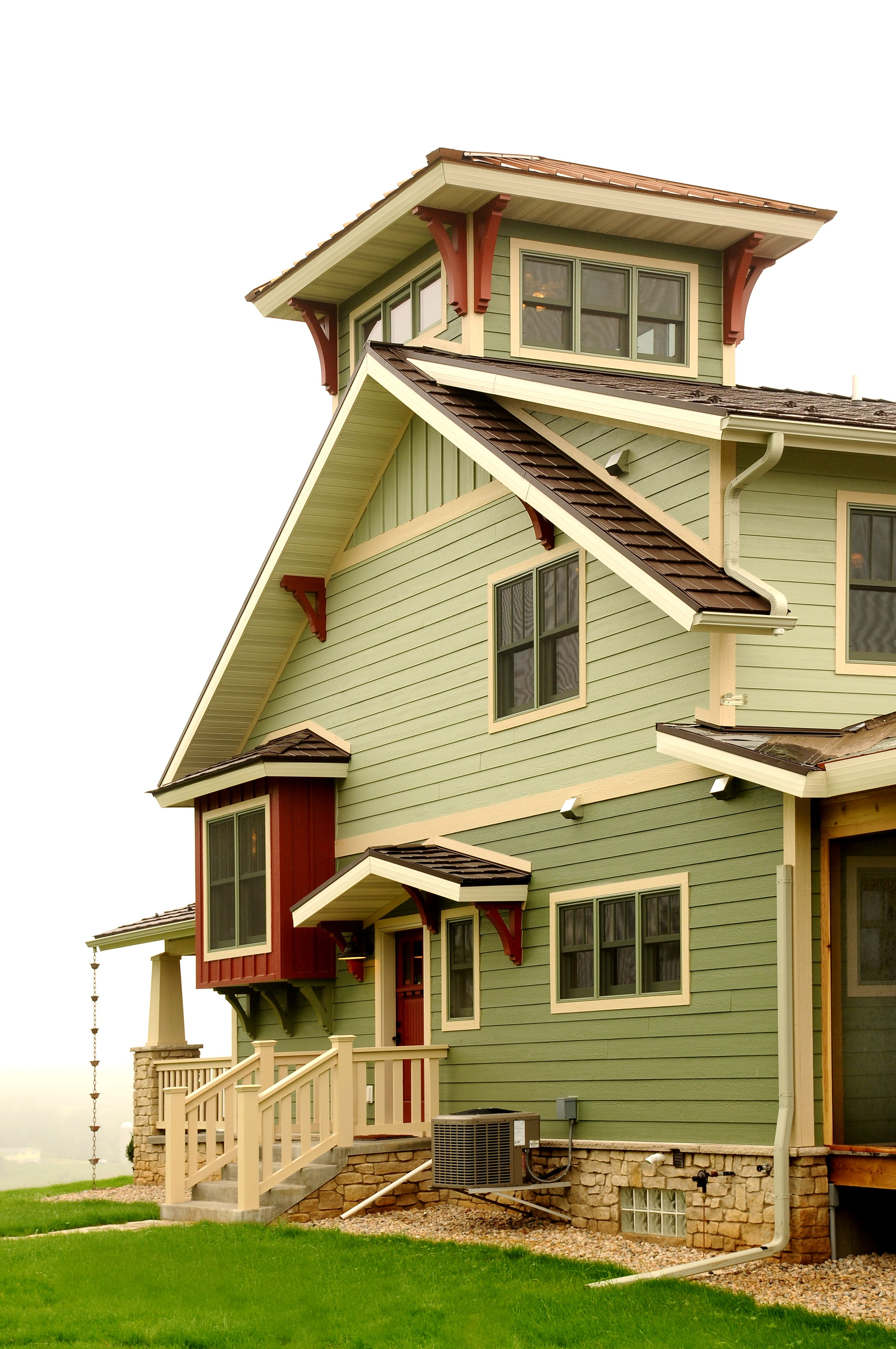 Side Of Home With Lookout Tower Beach House Plans Tower House Craftsman House