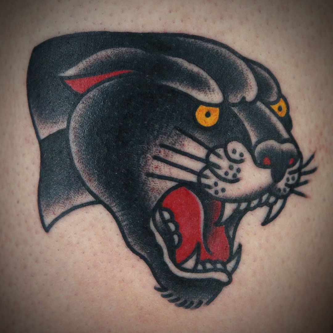 American Traditional Panther Head Tattoo By Cleen Rock One Traditional Panther Tattoo American Traditional Tattoo Head Tattoos