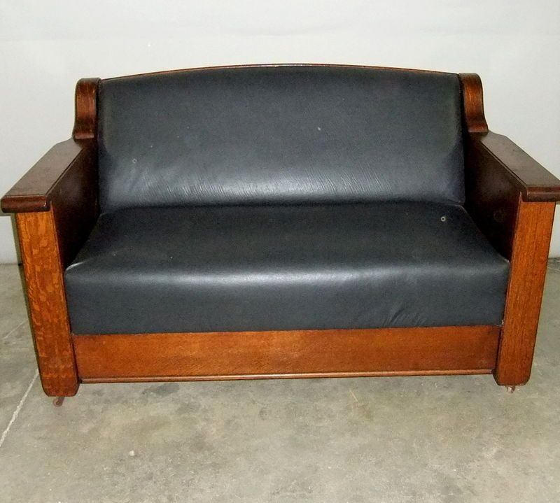 190515 EMPIRE MISSION STYLE QUARTERSAWN OAK SOFA MURPHY ANTIQUE