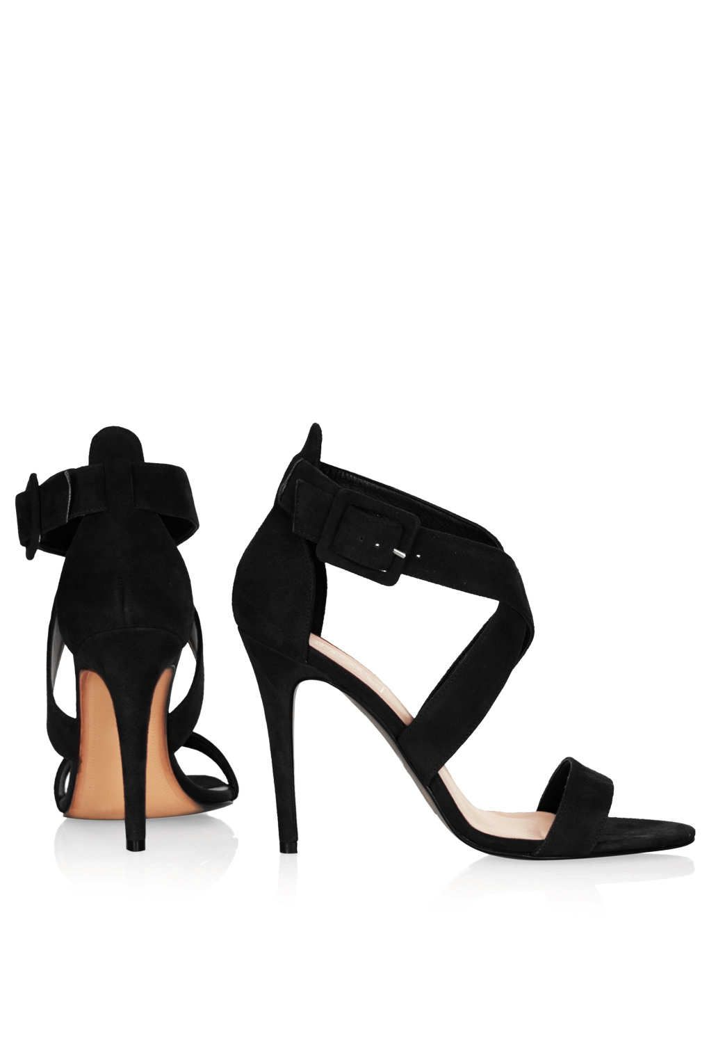 Topshop Rustle Suede Strappy Sandals in Black | Lyst