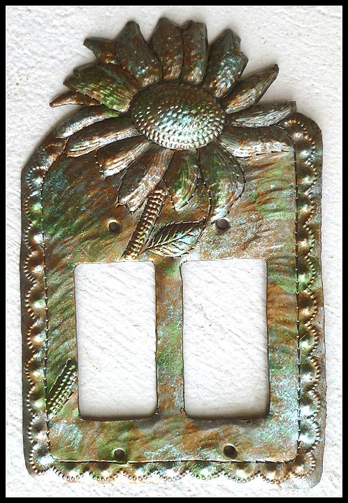 Sunflower Rocker Switch Plate Cover Iridescent Metal Switchplate Double Light Haitian Decorative