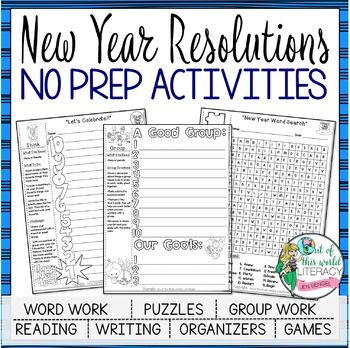 New Year S Resolutions Reading Graphic Organizers New Years Activities New Years Resolution