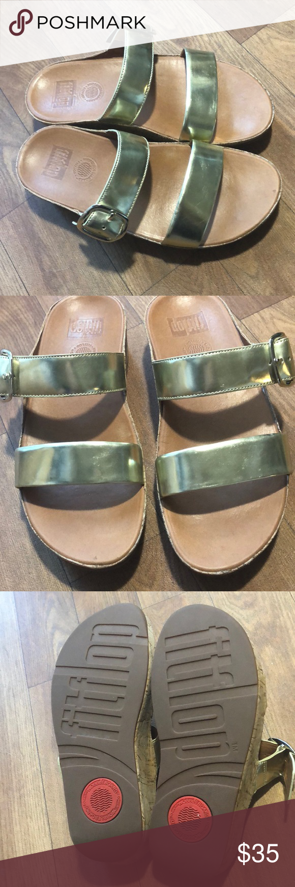 4e2f82bfc006e1 Fitflop Gold Slide Sandals Size  7 Color  gold Great condition! No rips or  stains. Fitflop Shoes Sandals