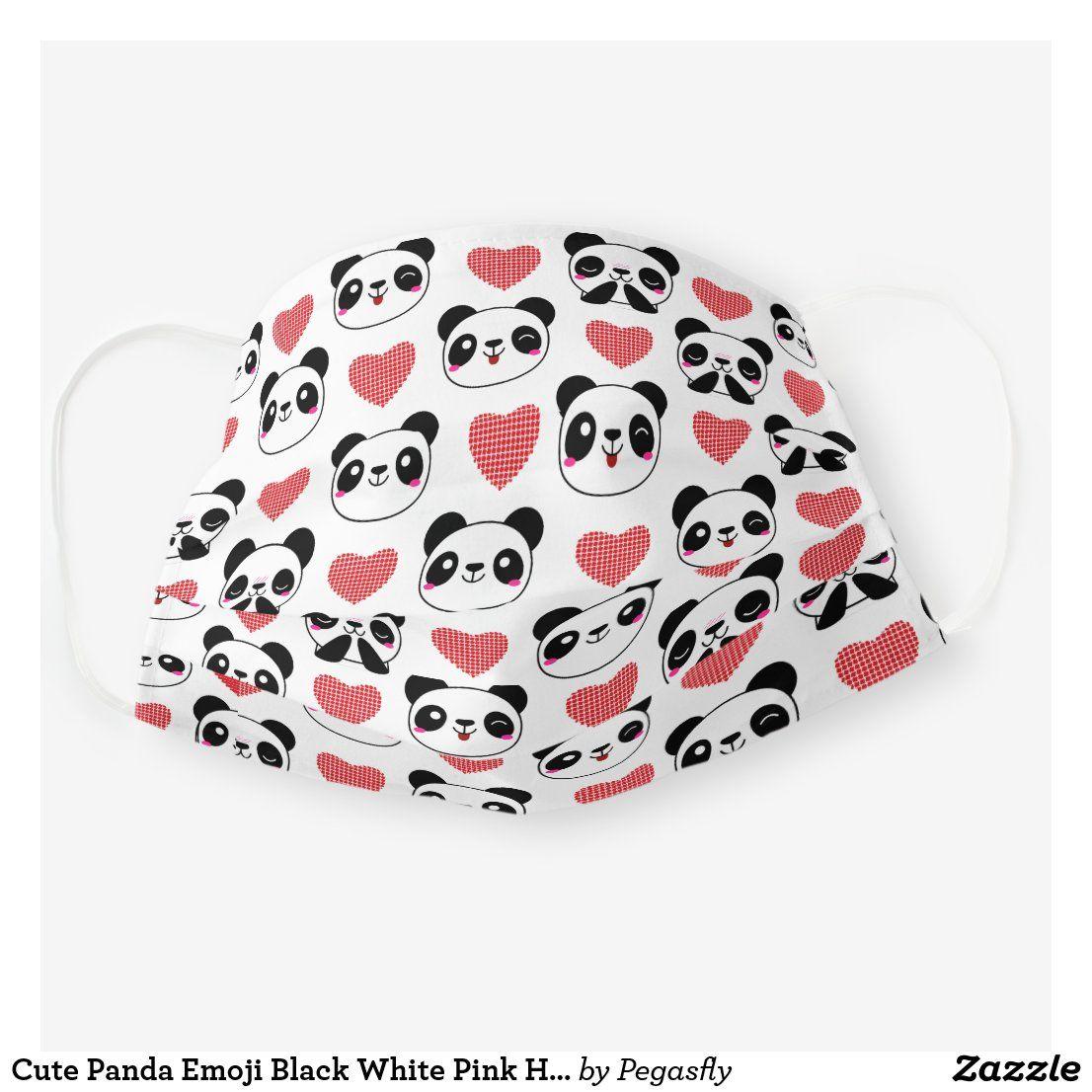 Cute Panda Emoji Black White Pink Hearts Pattern Cloth