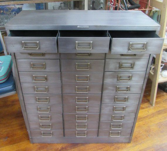 Mid Century Brushed Steel Metal File Cabinet With 30 Small