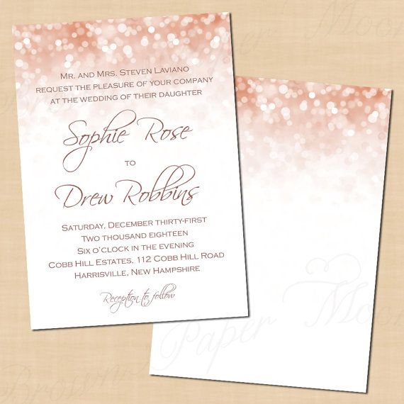 Rose Gold Sparkles Wedding Invitation 5x7 Portrait Text