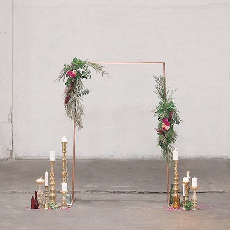 Rustic Wedding Decorations Hire: Copper Pipe Arch + Gold Candle Sticks ️DIY Decor Hire