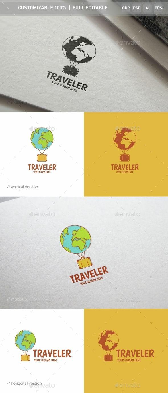traveler logo template photoshop psd travel resort available