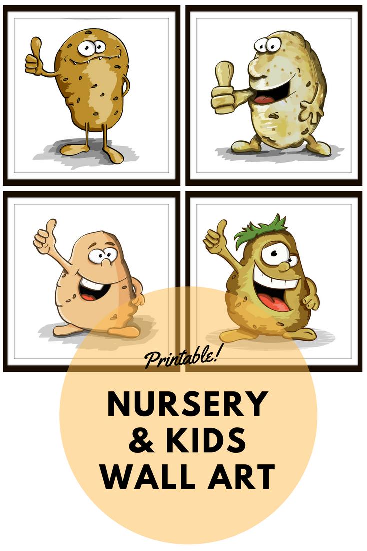 Set of 4 fun cartoon potato prints. Ideal for kitchen wall art ...