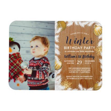 Wooden Holiday Photo Birthday Party Invitation Magnet