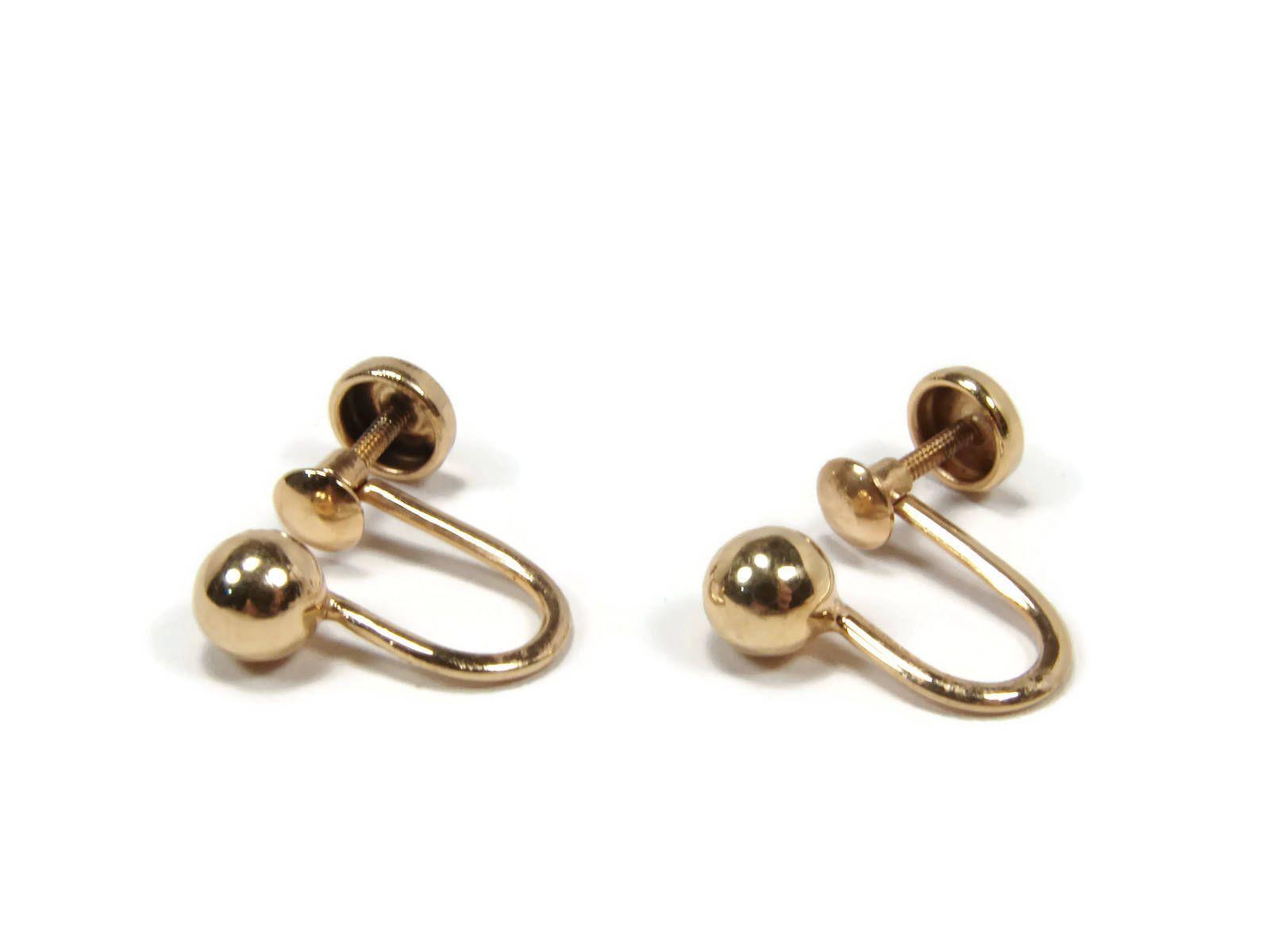 227acc1b3 10K Gold Screw Back Earrings, Yellow Gold, Vintage Gold Earrings, Ball  Earrings, 1940s Jewelry, Estate Jewelry by VintageGemz on Etsy