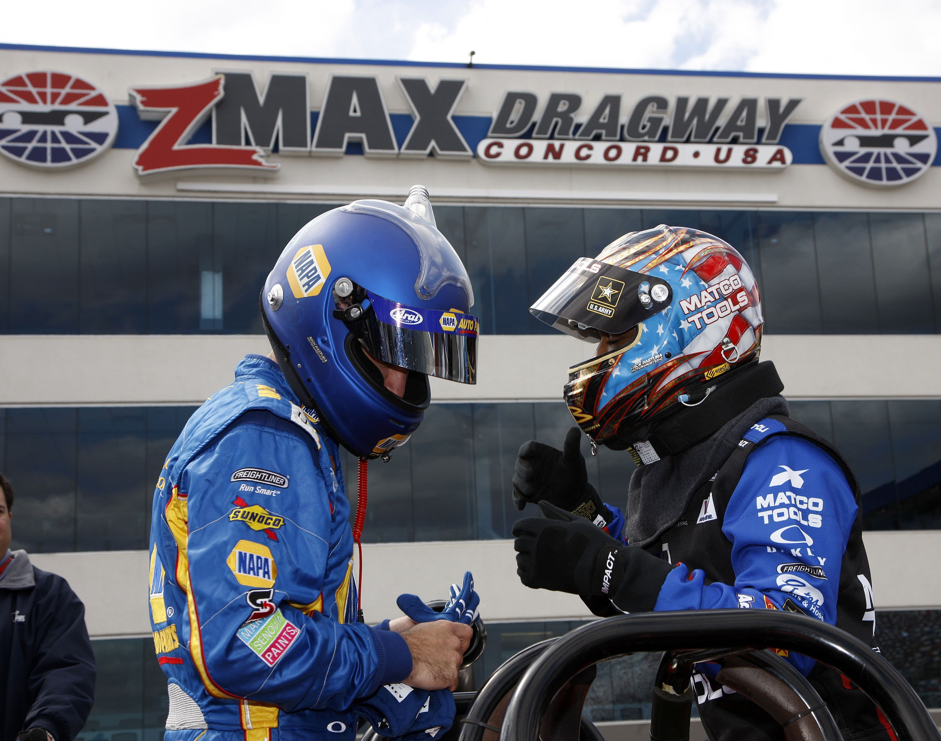 Nascar 39 s martin truex jr and the nhra 39 s antron brown take for Nascar ride along charlotte motor speedway