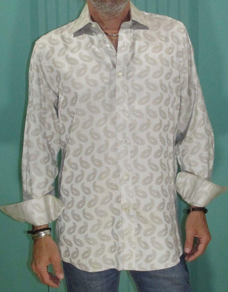 NEW Robert Graham $248 DEODAR White Embroidered Starburst Classic Fit Shirt