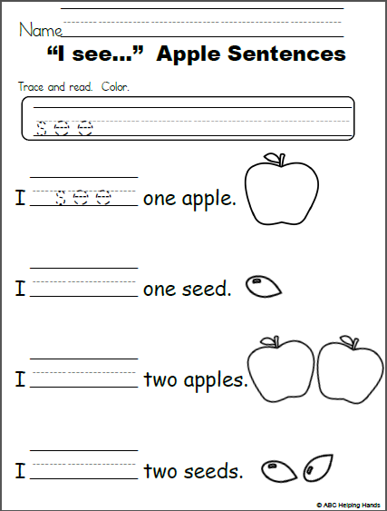 I see - Apple Sentences (editable free worksheet ...