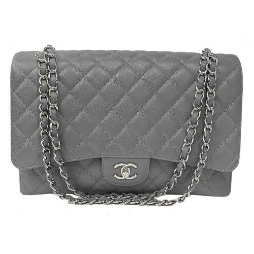 90cf3c164 CHANEL Chanel Grey Quilted Caviar Large Classic Maxi Flap Bag | bags ...